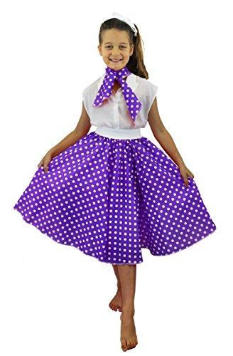 Luxuriöses Kinder-Kostüm-Set Rock-'n'-Roll-Rock–gepunkteter 50er-Jahre-Rock mit Halstuch, buntes Rock-'n'-Roll-/Swing-Outfit für Kinder–erhältlich in 2Ausführungen und 10Farben (Kinder Für Rock-and-roll-outfits)