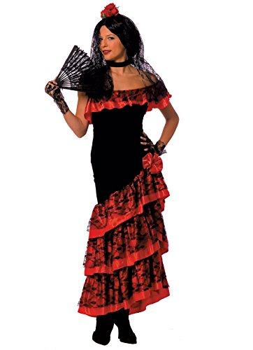 Spanien Damen Kostüm Flamenco Spanierin Karneval Fasching Größe (Tänzerin Kostüm Halloween Spanische Flamenco Senorita)