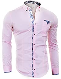 Cipo & Baxx Men's Pink Shirt with Pearl Buttons and Patterned Finishings
