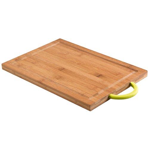 Levivo Tabla de Cortar de Madera de Bambú con Mango Engomado, Tabla de Cocina para Picar y Cortar de Bambú, Tabla para Picar, Aprox. 35 x 24 x 2 cm, Verde
