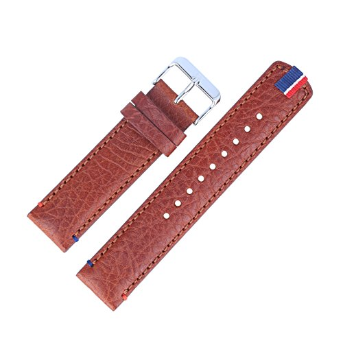 Tommy Hilfiger Reloj de pulsera 679301739, 22mm, piel, marrón, mujer-Relieve-Reloj de pulsera de repuesto para modelo 1791066Trent Reloj-Cierre Plata-125981