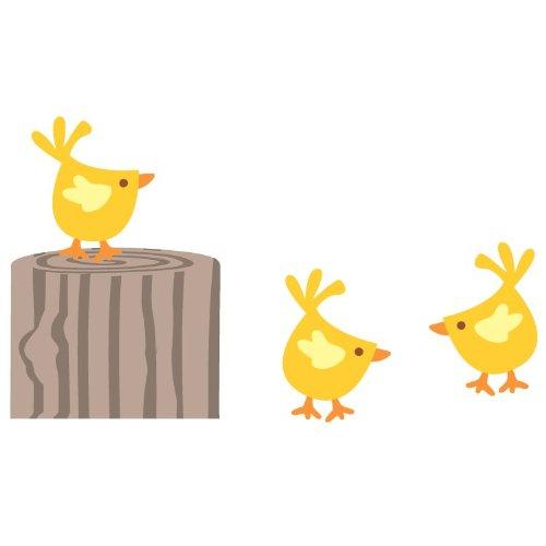 Ceppo di albero e polli adesivo da parete (confezione standard)