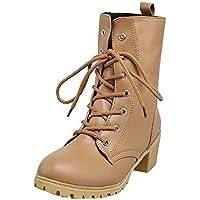 Zapatos combat con correa moda mujer fashion,Sonnena Zapatos de mujer de color sólido de invierno Botas de tobillo de combate Botines calientes Casuals