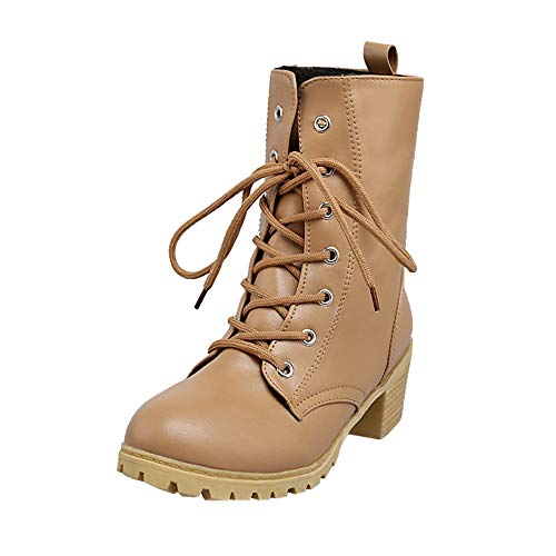 Preisvergleich Produktbild Damen Stiefeletten Winter Gefüttert Combat Boots Worker Stiefel Schuhe DOLDOA