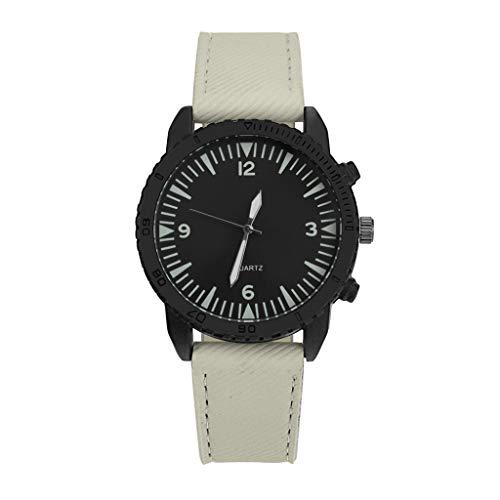 IG Invictus Mann Uhr Retro Entwurfs Leder Band analoge Legierungs Quarz Armbanduhr Vintage Herrenuhr aus Leder ZYB 30 Der Weiße Mann Leder Retro -