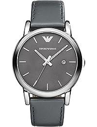 Emporio Armani  AR1730 - Reloj de cuarzo para hombre, con correa de cuero, color gris