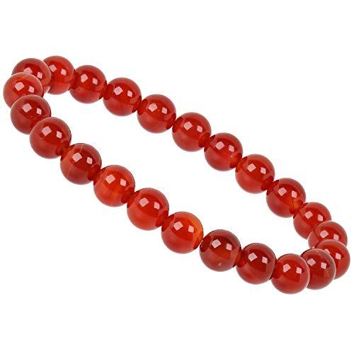 PowerBead Edelstein Perlen Armband mit Achat rot Energieband für Damen und Herren Rot Armband