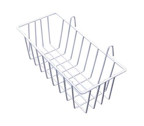 AceList 2 Set gerades Regal, Gitterwand, Wandmontage, Draht-Organizer, Aufbewahrung, Blumentopf, Dekoration, 24,8 x 9,9 cm, Weiß Medium Shelf Baskets -