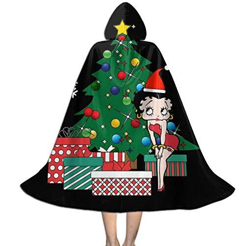 NUJIFGYTCRD Betty Boop um den Weihnachtsbaum Unisex Kinder Kapuzenumhang Umhang Umhang Umhang Cape Halloween Weihnachten Party Dekoration Rolle Cosplay Kostüme