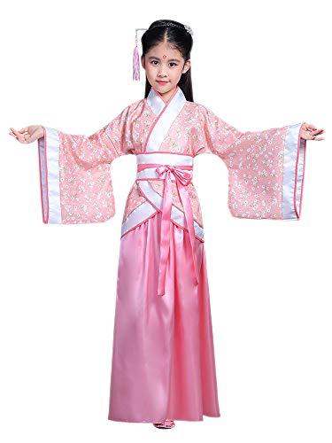 BOZEVON Hanfu - Kinder Traditioneller Tanz Tang Anzug Mädchen Kostüm Performance Kleidung,Rosa,EU 110=Tag 120