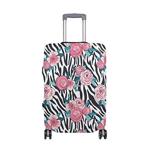 Luggage Cover Zebra Skin with Flowers Suitcase Protector Baggage Fits 19-39 Inch,Size:XL Zebra Design Cover Case