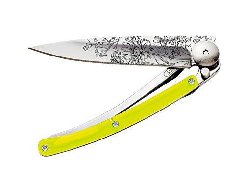 Couteau de Poche Pliant Ultra léger avec Clip Ceinture - Version Tatoos Jaune 27g - Lame Fine et tranchante - Motif Blossom - en Acier Inoxydable - Design élégant et Moderne - Lame 8 cm
