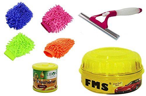 ManeKo Price Saving Deal for Maruti Suzuki A-Star All Models & Types -4 Double Sided Large Size Microfiber Hand Glove Duster for Cleaning & Washing Vehicles/Car, Bike, Houseware,, FMS Carnauba Vehicle Wax Polish with High Gloss Shine, 2 in 1 Glass Cleaning Wiper with Water Spray Spout & Liboni Gel Car Perfume Combo  available at amazon for Rs.685