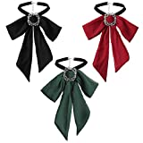 Finrezio 3 Pezzi Papillon in Chiffon Bowknot per Le Donne Ragazza Colletto Elegante con Cravatta Pre-Annodata con Cravatta da Festa