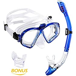 Masques de Plongée Schnorkel Plein Anti-fuite et Anti-buée pour Gopro + 100% Étanche Tuba WEINAS pour Randonnée Aquatique / Schnorkeling / Natation (Sac en filet inclus )