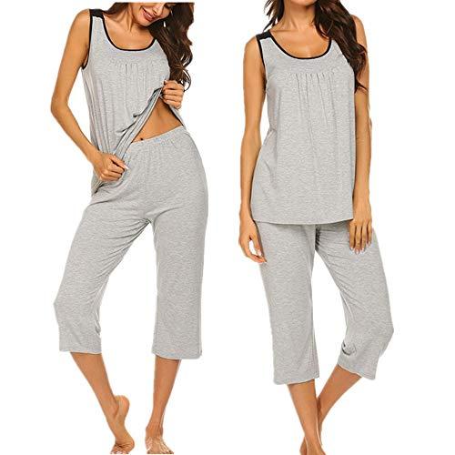 Unibelle Damen Einfarbige Pyjama Set, Zweiteiliger Modal Kurzarm Schlafanzug Hellgrau S -