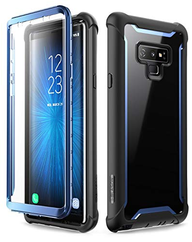 i-Blason Full-Body Rugged Clear Bumper Case with Built-in Screen Protector for Samsung Galaxy Note 9 (Blue)
