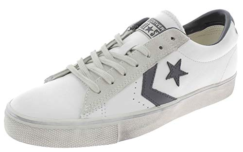 Converse Lifestyle PRO Leather Vulc Distressed Ox, Scarpe da Ginnastica Basse Unisex-Adulto, (Star White/Black/Vaporous Grey 100), 42 EU