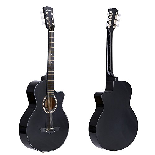'Andoer–38acústicas folk de 6cuerdas de guitarra para principiantes estudiantes regalo, negro