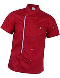 P Prettyia Atmunngsaktiv Kochjakce Bäckerjacke mit Druckknöpfe Kochbekleidung Arbeitskleidung Berufsbekleidung Arbeitsjacke für Gastronomie