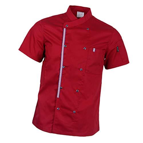 P Prettyia Atmunngsaktiv Kochjakce Bäckerjacke mit Druckknöpfe Kochbekleidung Arbeitskleidung Berufsbekleidung Arbeitsjacke für Gastronomie - rot, M (Koch-hemd)