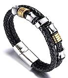 AIUIN Männlich Reines Leder Armband mit Titan Perlen Golden & Silber mit Kostenloser Schmuckbeutel