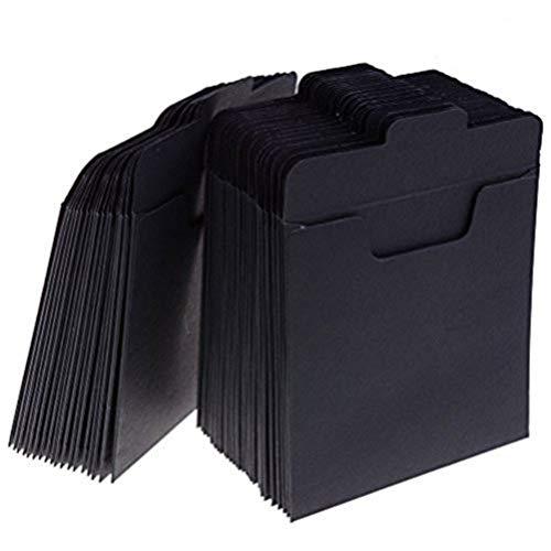 Paquete de 50 sobres de papel Kraft para CD y DVD, fabricados con papel de cartón, 12,45x12,45cm negro