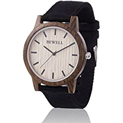 ZEITHOLZ wooden watch / Bewell BÄRENSTEIN / 100% Sandalwood-Case / natural product / featherweight / hypoallergenic / sustainable / comfortable to wear/ canvas wristband
