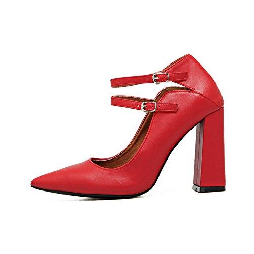 Spesso con scarpe con i tacchi alti doppia luce fibbia punta ugello spesso con scarpe con i tacchi alti di marea scarpe scarpe singolo red wedding Calzature Calzature donna The Red