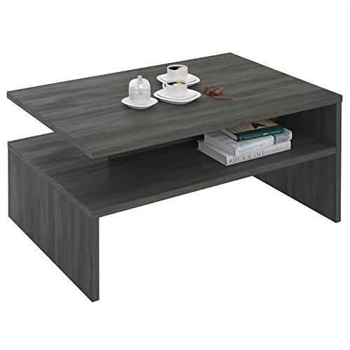 IDIMEX Table Basse de Salon Adelaide rectangulaire Rangement mélaminé Gris cendré