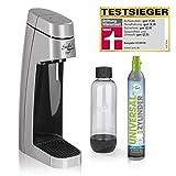 Soda Trend Style Wassersprudler-Set inkl. PET-Flasche (ca. 850 ml Füllmenge) + CO2-Zylinder für bis zu 60 l, Silber
