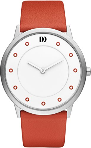 Danish Design Women's Quartz Watch with White Dial Analogue Display and Red Leather Bracelet DZ120222