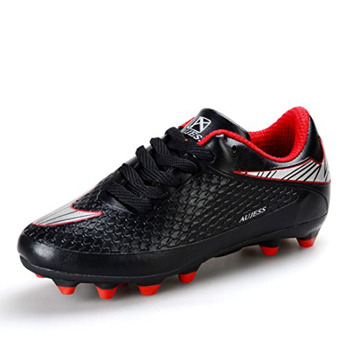 Men's Lace Up PU Leather Cleats Soccer Shoes Black