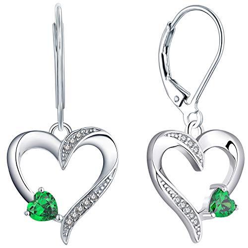 YL Orecchini a cuore in argento 925 con smeraldi simulati Gioielli per Donna e Ragazze
