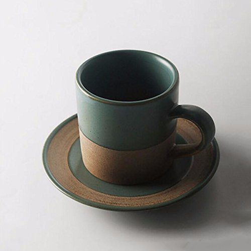 QMPZG-tazas de café tazas de café Hecho A Mano De Cerámica Taza De Café Platillo Estilo Japonés Taza De Café Taza Personalizada Grupo Par Taza Vintage Coffee Cup,C