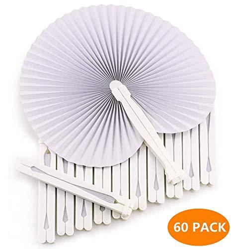 60 x Handfächer Papier weiß faltbar - DIY- und Deko-Spaß für Groß und Klein - Gast-Geschenk Hochzeit Party Flamenco Bauch-Tanz (Bauch Ringe Kleinen)