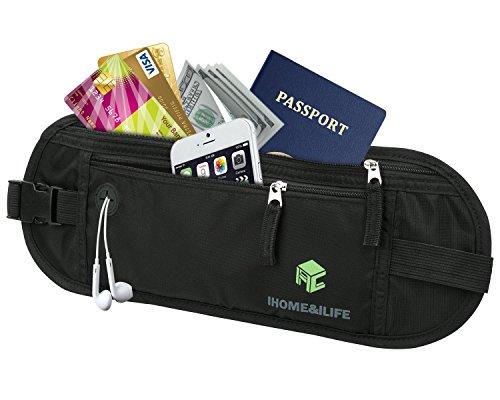 Marsupio iHome&iLife RFID Sicuro Viaggio Cintura portadenaro extra grande Marsupio Nascosto per Protezione Passaporto Biglietti Carta di credito Contanti iphone