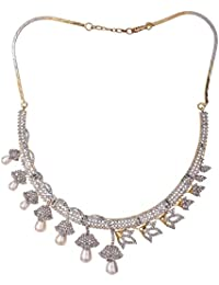 Ratnavali Jewels American Diamond CZ Gold Plated Designer Pearl Jewellery Set/Necklace Set With Chain & Earring...