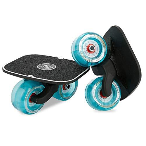 ZCR Tragbare Split Gratis Skateboard, 4 Räder Driftboard for Erwachsene und Kinder mit Aluminiumlegierung Oberfläche und Flash-PU-Räder (Color : Blue)