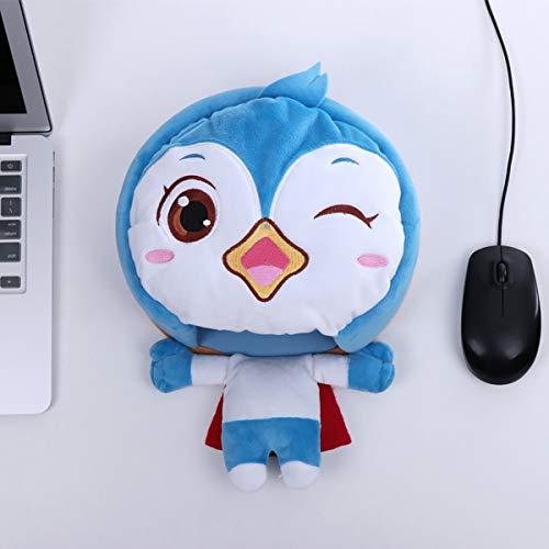 Fad-J Cojín de ratón de la Fiebre del Calentador de la Mano de la Historieta USB, cojín de ratón del Estilo del pingüino pequeño de la computadora del Sistema de calefacción del Invierno,Blue