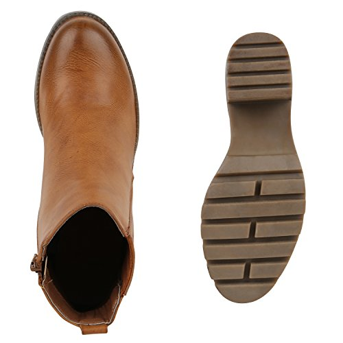 Damen Stiefeletten Blockabsatz Chelsea Boots Profilsohle Hellbraun Braun