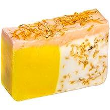 Pastilla de jabón de naranja con aceite de caléndula (4Oz)- Orgánico y artesanal con aceites esenciales. Jabón corporal y facial hidratante. Con manteca de karité, aceite de coco y glicerina natural.