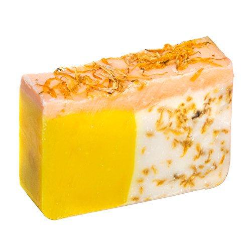 Orangen Seifenstück mit Calendula Öl (4 Oz)- Handgemacht und biologisch mit ätherischen Ölen. Natürliche Feuchtigkeitsspendende Körperseife für Haut und Gesicht. Mit Shea Butter, Kokosöl, natürlichem Glycerin