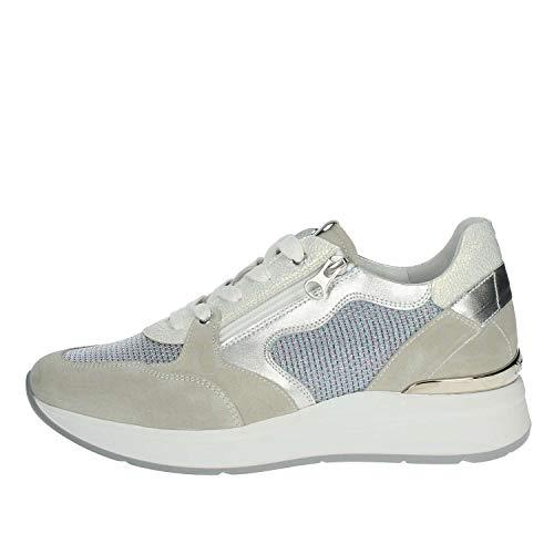 Sneakers nerogiardini per donna in pelle tessuto argento bianco camoscio grigio (taglia 36)