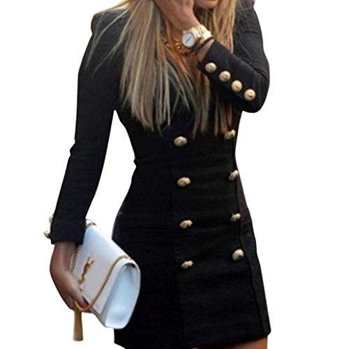 Elecenty Damen Kleider Cocktailkleid Frauen Langarm Kleid V-Ausschnitt Solide Langarmkleid Hemdkleid Festliche Kleider Slim Partykleid (L, Schwarz)