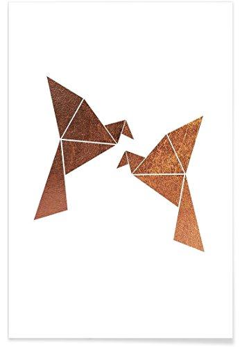 """JUNIQE® Poster 60x90cm Vögel Kinderzimmer & Kunst für Kinder - Design """"Vogel Kupfer"""" (Format: Hoch) - Bilder, Kunstdrucke & Prints von unabhängigen Künstlern - Abstrakte und moderne Kunst - entworfen von XOXO Arte"""