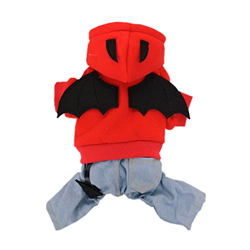 Pet Dog Puppy Devil Bat Wings Denim Hoodie Halloween-Kostüm Junge Mädchen Jumpsuit Kleidung Fleece ()