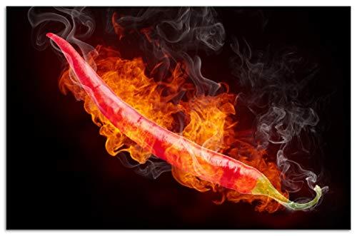 Wallario Herdabdeckplatte/Spritzschutz aus Glas, 1-teilig, 80x52cm, für Ceran- und Induktionsherde, Motiv Heiße, brennende Chili-Schote vor schwarzem Hintergrund