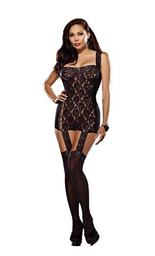 Dreamgirl Women's Plus-Size Tahiti Hosiery Garter Dress, Black, One Size Queen