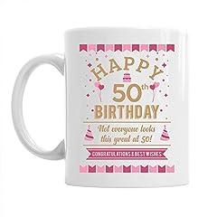 Idea Regalo - Divertente tazza regalo - ideale per 50° compleanno - uomo/donna - Bianco - 295 ml (10 oz)